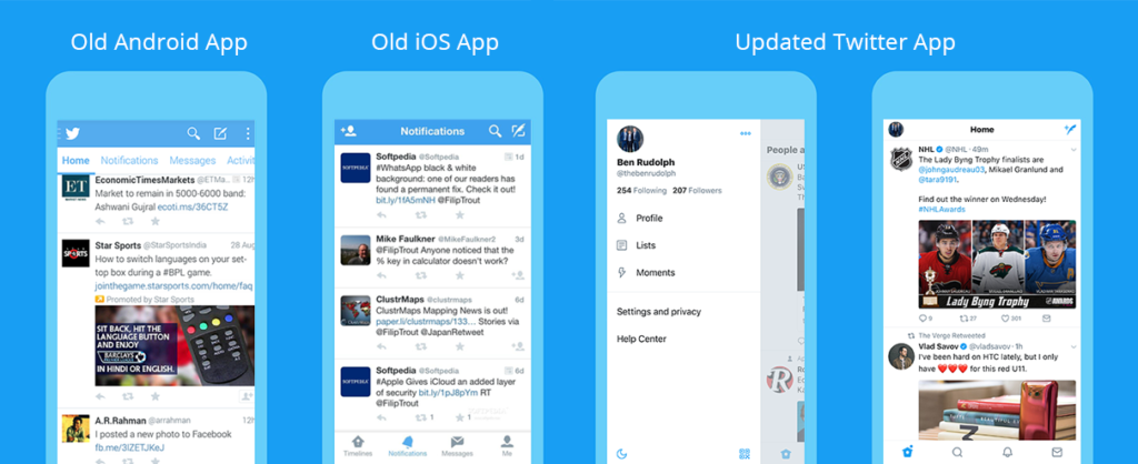 Old and New Twitter App Interfaces