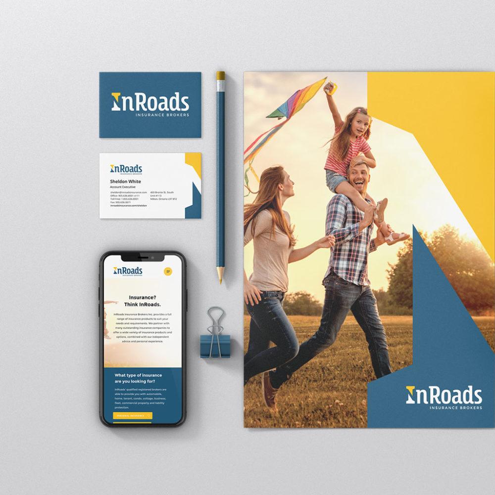 branding examples for insurance company. Business card, presentation folder mobile website displayed together