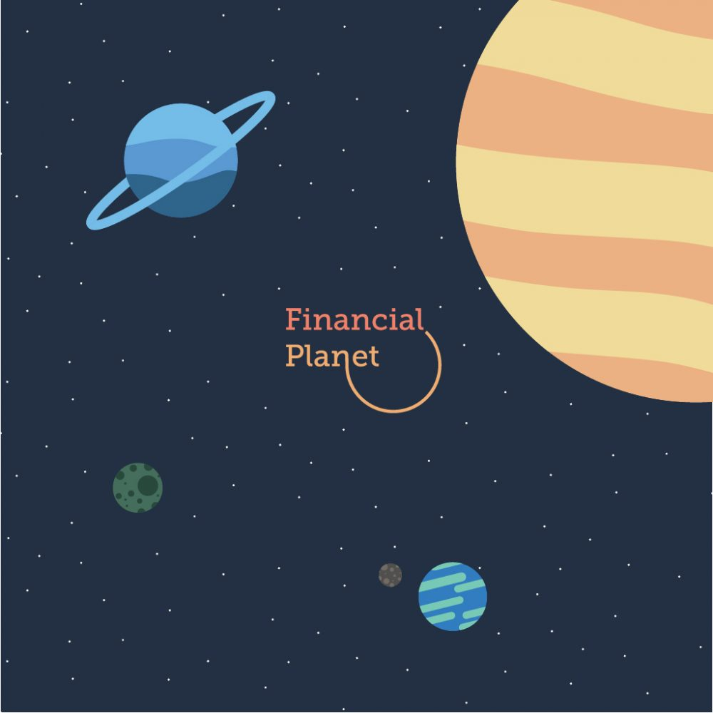 Financial Planet log with custom background planets