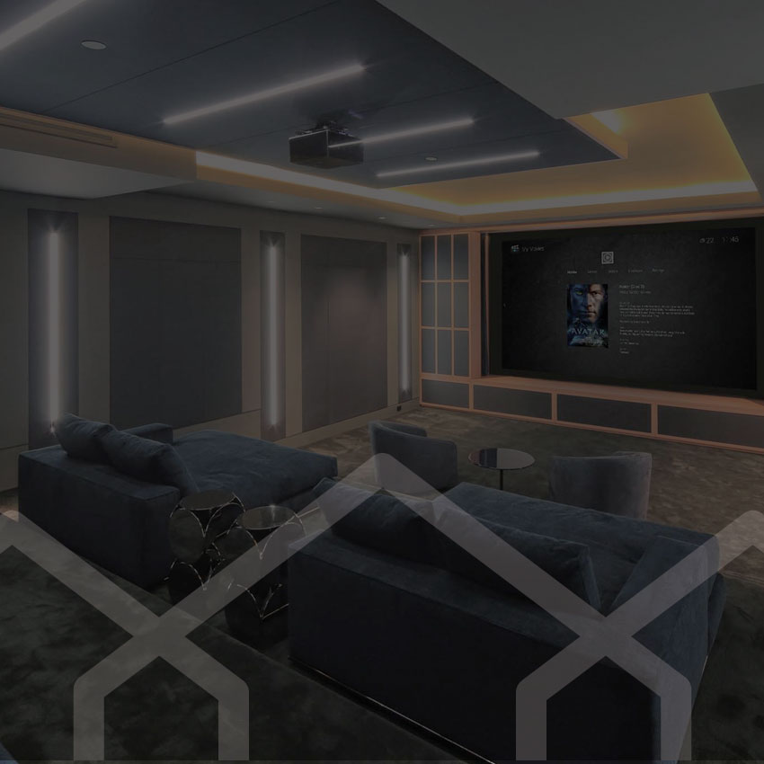 Digital 21 branding case study - image of a luxury home theatre room.