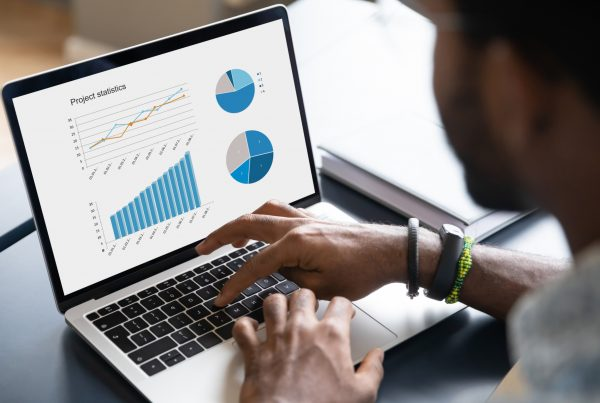 return on investment for marketing, image of a laptop computer with charts and graphs to represent measuring